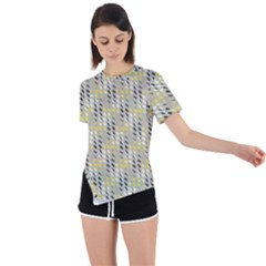 Color Tiles Asymmetrical Short Sleeve Sports Tee