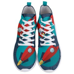 Rocket With Science Related Icons Image Men s Lightweight High Top Sneakers