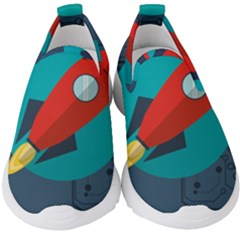 Rocket With Science Related Icons Image Kids  Slip On Sneakers