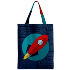 Rocket With Science Related Icons Image Zipper Classic Tote Bag
