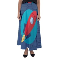 Rocket With Science Related Icons Image Flared Maxi Skirt