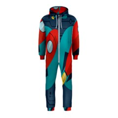 Rocket With Science Related Icons Image Hooded Jumpsuit (kids)
