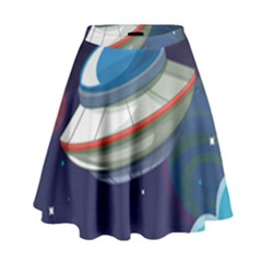 Ufo Alien Spaceship Galaxy High Waist Skirt by Vaneshart
