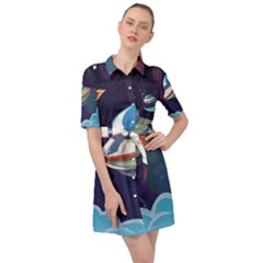 Ufo Alien Spaceship Galaxy Belted Shirt Dress by Vaneshart