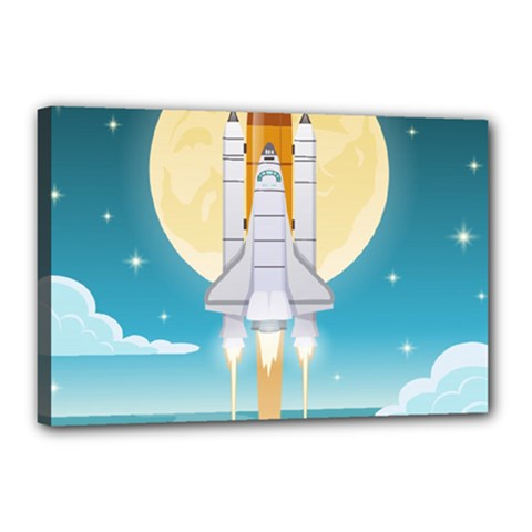 Space Exploration Illustration Canvas 18  X 12  (stretched)