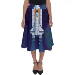 Spaceship Milkyway Galaxy Perfect Length Midi Skirt