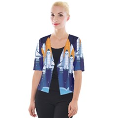 Spaceship Milkyway Galaxy Cropped Button Cardigan
