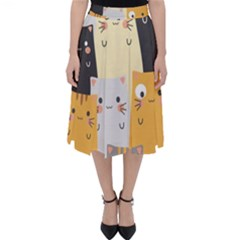 Seamless Pattern Cute Cat Cartoons Classic Midi Skirt by Vaneshart