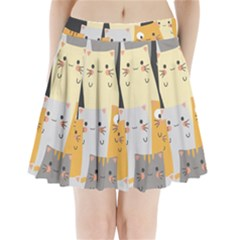 Seamless Pattern Cute Cat Cartoons Pleated Mini Skirt by Vaneshart