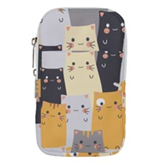 Seamless Pattern Cute Cat Cartoons Waist Pouch (small)