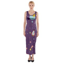 Space Travels Seamless Pattern Vector Cartoon Fitted Maxi Dress