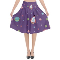 Space Travels Seamless Pattern Vector Cartoon Flared Midi Skirt