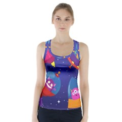 Cartoon Funny Aliens With Ufo Duck Starry Sky Set Racer Back Sports Top by Vaneshart
