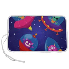 Cartoon Funny Aliens With Ufo Duck Starry Sky Set Pen Storage Case (m)