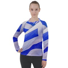 Uruguay Flags Waving Women s Pique Long Sleeve Tee