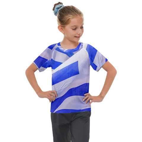 Uruguay Flags Waving Kids  Mesh Piece Tee by dflcprintsclothing