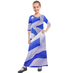 Uruguay Flags Waving Kids  Quarter Sleeve Maxi Dress by dflcprintsclothing