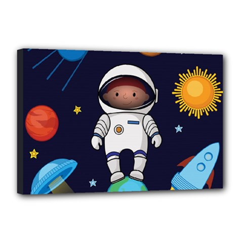 Boy Spaceman Space Rocket Ufo Planets Stars Canvas 18  X 12  (stretched)