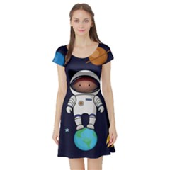 Boy Spaceman Space Rocket Ufo Planets Stars Short Sleeve Skater Dress