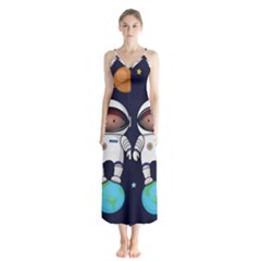 Boy Spaceman Space Rocket Ufo Planets Stars Button Up Chiffon Maxi Dress