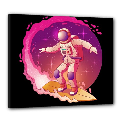 Astronaut Spacesuit Standing Surfboard Surfing Milky Way Stars Canvas 24  X 20  (stretched)