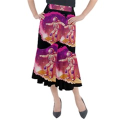 Astronaut Spacesuit Standing Surfboard Surfing Milky Way Stars Midi Mermaid Skirt