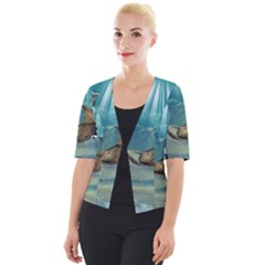 Awesome Steampunk Manta Rays Cropped Button Cardigan