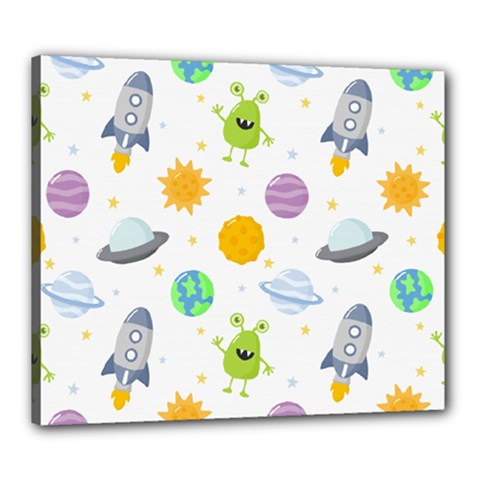 Seamless Pattern Cartoon Space Planets Isolated White Background Canvas 24  X 20  (stretched)