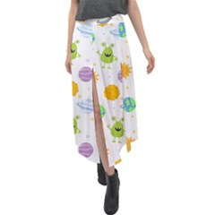 Seamless Pattern Cartoon Space Planets Isolated White Background Velour Split Maxi Skirt