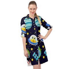 Space Seamless Pattern Long Sleeve Mini Shirt Dress