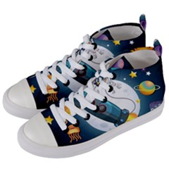Spaceship Astronaut Space Women s Mid-top Canvas Sneakers by Vaneshart
