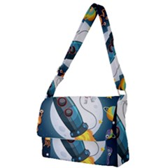 Spaceship Astronaut Space Full Print Messenger Bag (s)