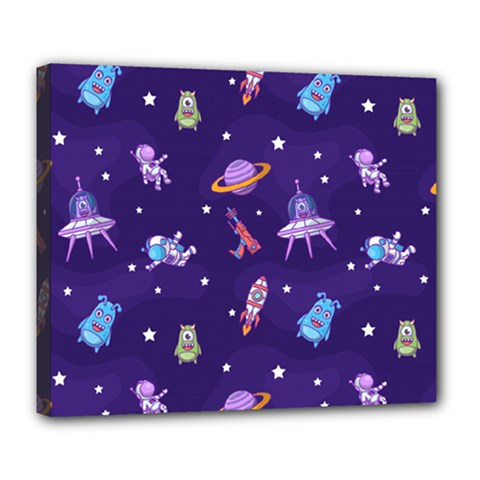 Space Seamless Pattern Deluxe Canvas 24  X 20  (stretched)