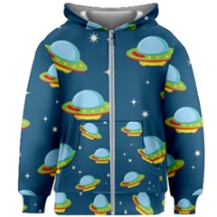 Seamless Pattern Ufo With Star Space Galaxy Background Kids  Zipper Hoodie Without Drawstring by Vaneshart