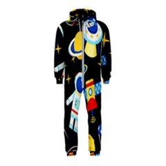 Space Seamless Pattern Hooded Jumpsuit (kids) by Vaneshart