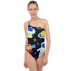 Space Seamless Pattern Classic One Shoulder Swimsuit by Vaneshart