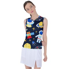 Space Seamless Pattern Women s Sleeveless Sports Top by Vaneshart