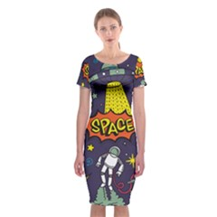 Vector Flat Space Design Background With Text Classic Short Sleeve Midi Dress