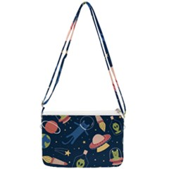 Seamless Pattern With Funny Aliens Cat Galaxy Double Gusset Crossbody Bag