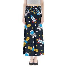 Seamless Adventure Space Vector Pattern Background Full Length Maxi Skirt