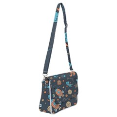 Space Seamless Pattern Shoulder Bag With Back Zipper