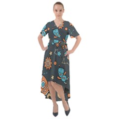 Space Seamless Pattern Front Wrap High Low Dress