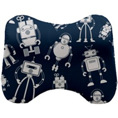 White Robot Blue Seamless Pattern Head Support Cushion