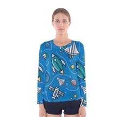 About Space Seamless Pattern Women s Long Sleeve Tee