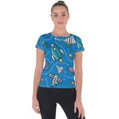 About Space Seamless Pattern Short Sleeve Sports Top  by Vaneshart