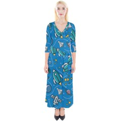 About Space Seamless Pattern Quarter Sleeve Wrap Maxi Dress