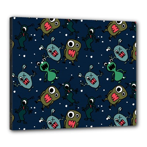 Monster Alien Pattern Seamless Background Canvas 24  X 20  (stretched)