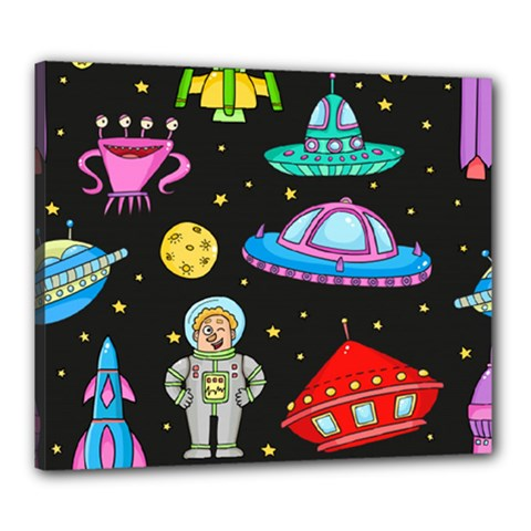 Seamless Pattern With Space Objects Ufo Rockets Aliens Hand Drawn Elements Space Canvas 24  X 20  (stretched)