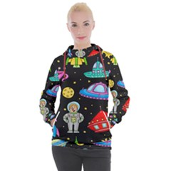 Seamless Pattern With Space Objects Ufo Rockets Aliens Hand Drawn Elements Space Women s Hooded Pullover