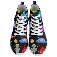 Seamless Pattern With Space Objects Ufo Rockets Aliens Hand Drawn Elements Space Men s Lightweight High Top Sneakers